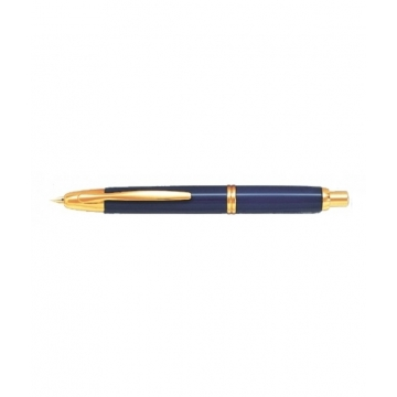 Pluma retractil Pilot 1500 azul media dorada