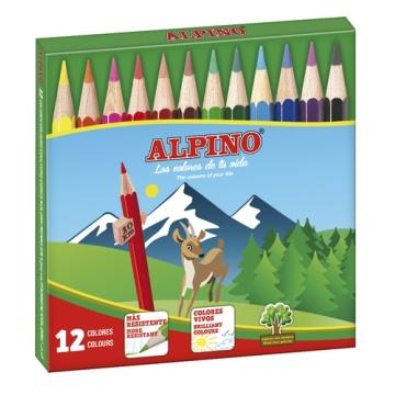 12 Lápices de colores Alpino cortos