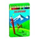 6 Lápices de colores Alpino largos estuche de metal