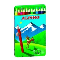 36 Lápices de colores Alpino largos estuche de metal