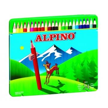 24 Lápices de colores Alpino largos estuche de metal