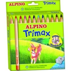 12 Lápices de colores Alpino Trimax con sacapuntas