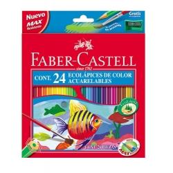 Lápices acuarelables Faber Castell estuche de 24 ecolápices + pincel de regalo
