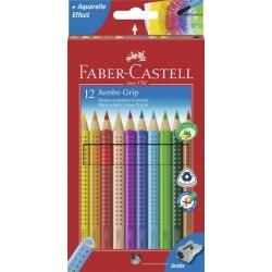 Lápices acuarelables Faber Castell jumbo grip estuche de 12 ecolápices.