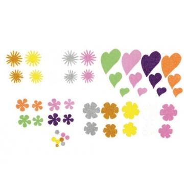 23bb4c4a05f Goma eva Fixo Kids adhesiva con purpurina flores y corazones pack 64 figuras