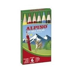 6 Lápices de colores Alpino cortos
